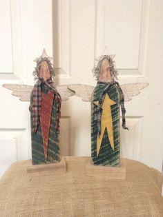 Primitive angel wood angel primitive wood decor by LnMPrimitives