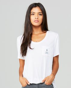 Women's Slouchy pocket T with anchor
