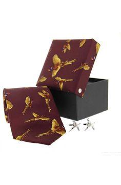 Soprano Wine Pheasant Silk Country Tie Cufflink www.ties-online.com/wine-pheasant-silk-country-tie-cufflink £34.95