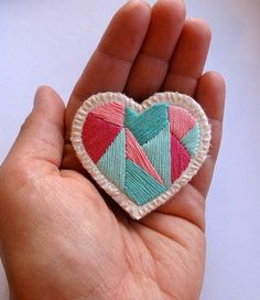 Style: Let's Shop Etsy For Brooches!  (via Mini heart badge of love embroidered geometric by AnAstridEndeavor)
