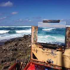 More wave painting today with @janalbacjewell Pretty big surf today on the north