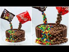 Illusion Candy Cake mit M&Ms und Maltesers / Gravity Defying Candy Cake / Schwebe-Kuchen Anti Gravity Cake, Gravity Defying Cake, Fondant Cakes, Cupcake Cakes, Skittles Cake, Malteser Cake, Birthday Cakes For Teens, Beach Cakes, Candy Cakes