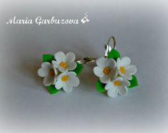 Polymer Clay earrings handmade Flowers jewelry by ShopotShop