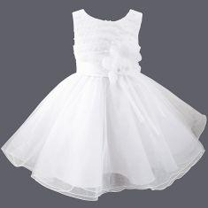 Robe de baptême en voile blanc brodé de perles Louna