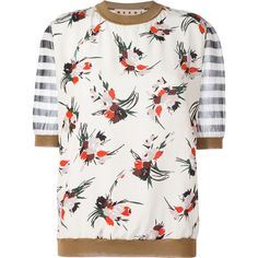 Marni floral print T-shirt (3.355.810 COP) ❤ liked on Polyvore featuring tops, t-shirts, ivory, sheer top, stripe tee, sheer sleeve top, white sheer top and sheer t shirt