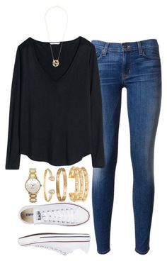 """today's ootd"" by tabooty ❤ liked on Polyvore featuring mode, Hudson, H&M, Converse, Kate Spade, Kendra Scott, Cartier en Tory Burch"