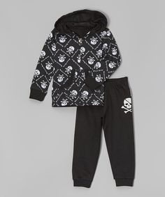 Look at this Silly Souls Black Skull Zip-Up Hoodie & Sweatpants - Infant, Toddler & Boys on #zulily today!