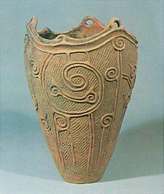 x x x ~ 'Jomon-era. earthen pot. BC4,500. Morioka Iwate Japan.'