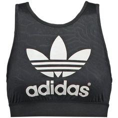 adidas Originals BERMUDA Top ($24) ❤ liked on Polyvore featuring tops, shirts, crop tops, adidas, black, big & tall shirts, short shirts, women tops, short sleeve shirts and black shirt