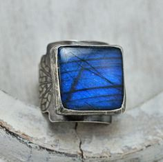 Indigo Sky Labradorite Ring Sterling Wide by HouseThatCrowBuilt