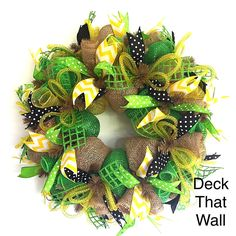 Green Yellow Burlap Summer Mesh Wreath
