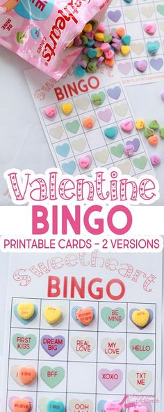 Our Valentine Bingo game printable features 2 different sets of 20 unique game cards. Play the colored hearts version with at your preschool Valentine's Day party, or opt for the conversation heart phrase version for your early readers   Party Games   Val