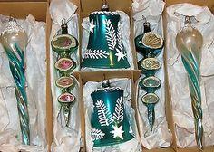 6 Large Fancy Turquoise Mica Stencil Ornaments 4 Shiny Brite 2 Poland Vtg