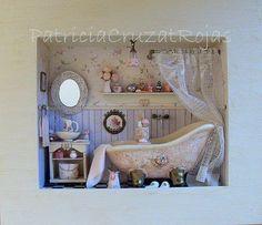 Baño romántico con Miniaturas hecho por encargo. http://cruzatartesaniacolor.blogspot.com/