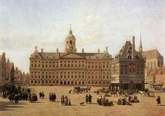 """""""Dam, Amsterdam"""" Gerrit Adriaensz. Berckheyde (geb. 1638, Haarlem, overl. 1698, aldaar) maakte meerdere schilderijen van de Dam. Dit schilderij voltooide hij in 1697. www.schilderijen.nu"""