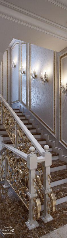 Marmor Treppen als Schlüssel zum stilvollen Ambiente www.treppen-deuts… Marble stairs as a key to the stylish ambience www. Luxury Interior, Home Interior Design, Interior And Exterior, Marble Stairs, Staircase Design, Elegant Homes, Stairways, Luxury Homes, Beautiful Homes