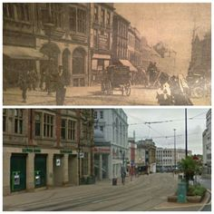 High Street Sheffield, top then, bottom, now. Sources Of Iron, Happy City, Industrial Development, Sheffield England, Derbyshire, Writing Inspiration, Old And New, Yorkshire, Old Photos