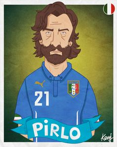 Fifa World Cup 2014 teams caricatures - ITALY  - PIRLO - http://keuj.net