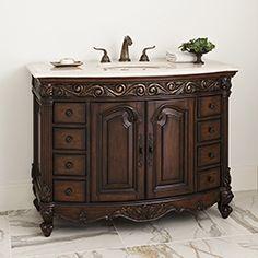 """48"""" Provincial Medium Sink Chest Dark Bathroom Vanity 06227-110-226 #Ambella #HomeRemodel #BathroomRemodel #BlondyBathHome #BathroomVanity"""