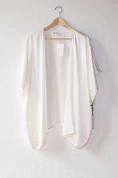 Josephine White Kimono | Modern Bohemian White Silk Charmeuse ...