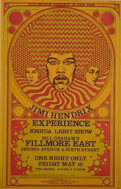 Poster from Jimi Hendrix's 1968 Experience concert.