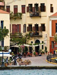 Χανια Crete Island Greece, Greece Islands, Zorba The Greek, Santorini Villas, Myconos, Cities, Beautiful Places, To Go, Street View