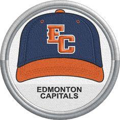 Edmonton Capitals baseball cap uniform sports logo. Golden Baseball League - Minor League Baseball - Created by Jackson Cage