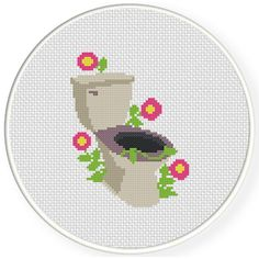 Charts Club Members Only: Flowery Toilet Cross Stitch Pattern