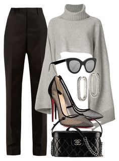 A fashion look from November 2017 featuring gray sweater, wide leg pants and christian louboutin shoes. Browse and shop related looks. Kpop Fashion Outfits, Winter Fashion Outfits, Work Fashion, Cute Casual Outfits, Stylish Outfits, Moda Disney, Mode Pastel, Moda Outfits, Elegantes Outfit