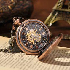 - Luxury Copper Hand Wind Mechanical Pocket Watch Steampunk Watch Fashion Women Me. Pocket Watch Tattoos, Pocket Watch Tattoo Design, Cheap Watches, Cool Watches, Watches For Men, Datejust Rolex, Cartier, Steampunk Watch, Steampunk Men