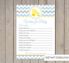 Baby Wishes Card  INSTANT DOWNLOAD Ducks by VividLaneDesigns