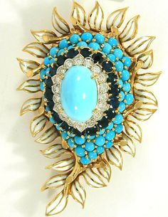 1940s Turquoise Sapphire 18K Pin David Webb by FineEstateJewelry