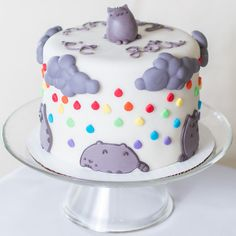 'it gets better' sad pusheen the cat cake. donation to the depressed cake shop pop up shop event