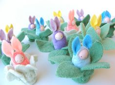 Easter bunny waldorf decor rabbit yellow bunnies by fairyshadow