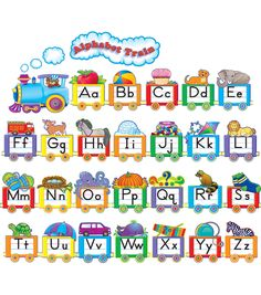 - Alphabet Train Bulletin Board Display Set, Remind young students of the shape and sound of each letter with this bulletin board. An example of each. Train Bulletin Boards, Summer Bulletin Boards, Bulletin Board Display, Trains Preschool, Preschool Bulletin, Alphabet Display, Phonics Chart, Abc Chart, Alphabet Charts