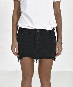 Black Panther Junkyard Denim Skirt from ascot   hart