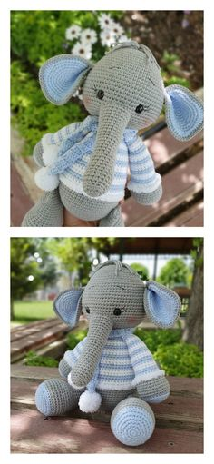 In this article I will share a wonderful amigurumi pattern again. You can enjoy this beautiful amigurumi elephant free english pattern.  Materials  Yarn Pekhorka children's novelty,  1 skein of the main color, half  skein of a different color  Hook 1.5-1.75  Filler  Long needle  Plastic joint or cotter pin  Plastic eyes d = 13mm, with  you can use  baked plastic for protein  Artificial cilia, button  1.5 mm wire for neck  no joint or cotter pin Crochet Food, Crochet Baby, Elephant Pattern, Amigurumi Toys, Crochet Animals, Main Colors, Free Pattern, Dinosaur Stuffed Animal, Teddy Bear