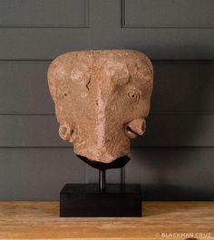 Spanish Bullhead Janus Sculpture for Plaza de Toros: Spain, 1920's, custom iron stand – Blackman Cruz