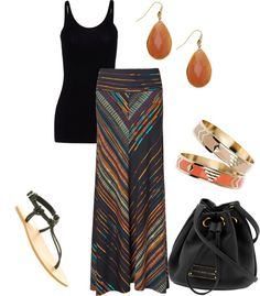 long skirt, tank, bangles, sandals… my style