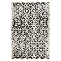 ACHICA | Marina Textured Area Rug, Ivory/Black - Choose Size