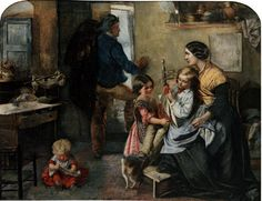 Presentiments by Emily Mary Osborn 1859. Daughter and baby are wearing pinafores.