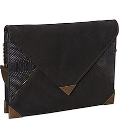 House of Harlow Corinne Nubuck/Snake Envelope Clutch