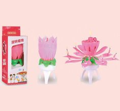 Spinning Singing Birthday Candle Lotus Flower China Candles