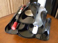 Dishfunctional Designs: Repurposed Vinyl LP Record Album Art... heat and bend, prob. e-6000 to secure.