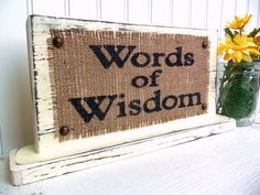 BURLAP WEDDING, Words of Wisdom table sign reception guest, Shabby Chic, vintage…