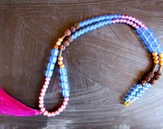 Borla collar collar de perlas collar largo madera ágata