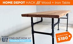 Wood + Iron Table by HomeMade Modern- diy video