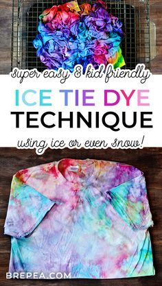 Want to know how to tie dye the easy way? This diy tie dye technique is a super easy pattern and uses ice to create a galaxy effect. A fun idea for a summer or winter kids crafts using snow! Tye Dye, Ice Tie Dye, Tie Dye Kit, How To Tie Dye, Tie And Dye, Tie Dye Folding Techniques, Fabric Dyeing Techniques, Dyeing Fabric, Diy Tie Dye Shirts