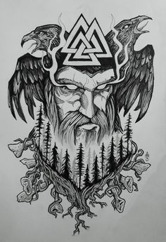 Old Norse Odin tattoo design Made this symbolic design to represent God Odin and nordic forest, with huginn and munninn. Old Norse Odin tattoo design Made this symbolic design to represent God Odin and nordic forest, with huginn and munninn. Art Viking, Rune Viking, Viking Symbols, Mayan Symbols, Viking Rune Tattoo, Egyptian Symbols, Ancient Symbols, Nordic Symbols, Viking Woman