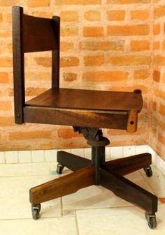Antiga Cadeira de Escritório / Giratória - Vintage Retro